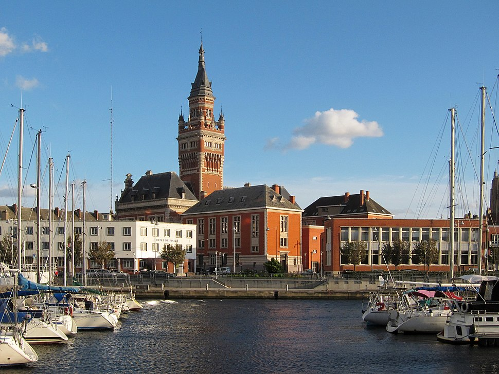 Dunkirk Town Hall and port