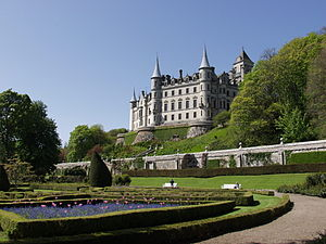 Earl of Sutherland - Dunrobin Castle has similar architecture and partly exposed semi-green foundations as some medieval French castles such as Josselin Castle but is of the pan-19th century Scottish Baronial architecture with a formal french garden and is the seat of the Earls or Countesses of Sutherland - a title which passes to eldest female heirs on lack of male heirs.