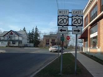 U.S. Route 20 in New York - The former northern terminus of NY 239 at US 20 in Alden
