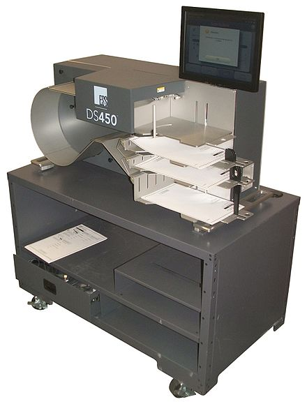 A medium-speed central-count ballot scanner, the DS450 made by Election Systems & Software can scan and sort about 4000 ballots per hour. ES&S DS 450.jpg