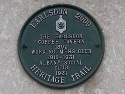 Photo of Albany Social Club, Working Men's Club, Earlsdon, and Earlsdon Coffee Tavern green plaque