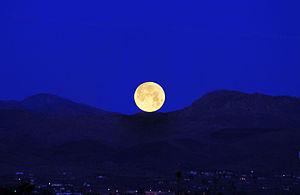 Lunar standstill - February, 2016 Early Morning Moonset, Mojave Desert, California.