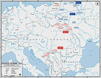 History of Poland during World War I - Eastern Front on the verge of conflict in 1914. Polish territories were located roughly in the northern part of the front. Notably, the entire German-Russian frontier, and northern Austrian-Russian frontier passed through those lands.