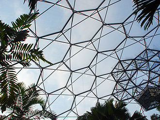 Hexagonal external cladding panels of a roof in Eden Project Biomes (Cornwall, England) EdenProjectRoof.jpg