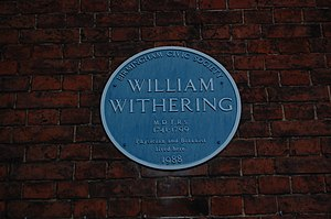 William Withering -  Blue plaque at Edgbaston Hall
