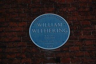 William Withering -  Blue plaque at Edgbaston Hall