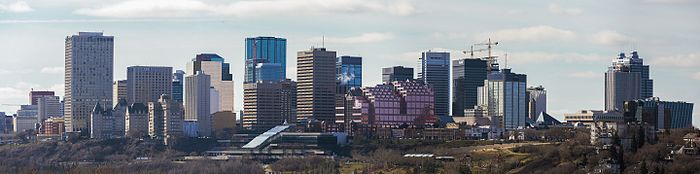 Panorama of Edmonton's skyline taken on spring day in April 2016