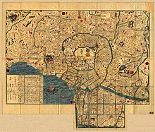 Pequeño mapa en color sepia de Edo en la década de 1840