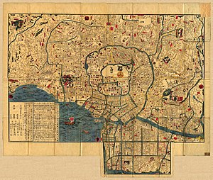 Fires in Edo - Map of Edo as of the 1840s. The Sumida River is found in the lower right.