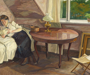 Interior with a woman reading.