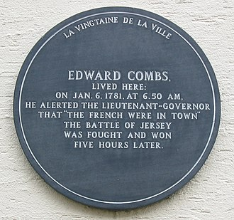 Battle of Jersey - A plaque in Saint Helier marks the house of Edward Combs who raised the alarm