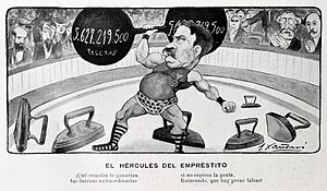 Raimundo Fernández-Villaverde, Marquis of Pozo Rubio - Depicted in a 1900 cartoon, by J. Xaudaró.