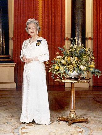 Elizabeth II's jewels - Elizabeth wearing the Girls of Great Britain and Ireland Tiara in an official portrait as Queen of Australia