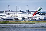 Emirates A-380, taxiing to international arrival gate SFO (26772199360).jpg