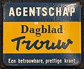 Enamel advertising sign, Agentschap, Dagblad Trouw.JPG