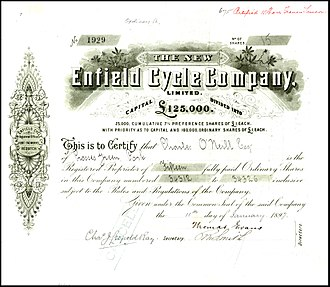 "Royal Enfield - Share of ""The New Enfield Cycle Company"", issued 11. January 1897"