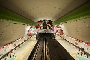 Echeverría (Buenos Aires Underground) - Image: Estación Echeverría Subte B, andenes desde arriba
