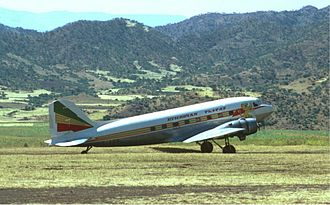 Ethiopian Airlines - An Ethiopian Airlines Douglas DC-3 at Lalibela Airport in 1974.