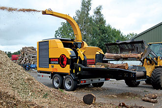 Woodchips - Large woodchipper (Europe Chippers model C1175). This type of machine is used to chip large pieces of wood