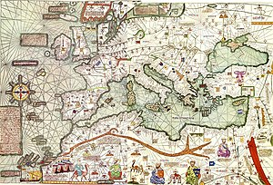 Mediterranean Lingua Franca - Map of Europe and the Mediterranean from the Catalan Atlas of 1375