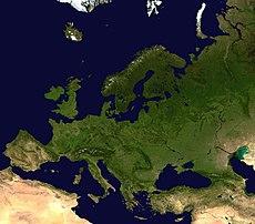 Una imagen satelital de Europa.