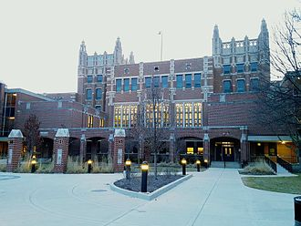 "Evanston Township High School - Evanston Township High School's iconic ""castle-like"" structure and main entrance, as viewed from Dodge Avenue."