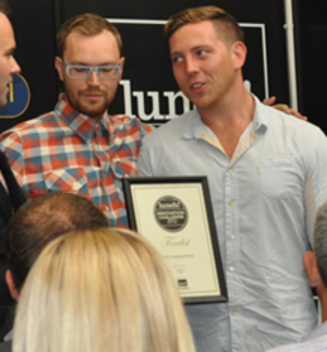Christopher Eves - Christopher Eves (Left) Luke Booth (Right) collecting Lunch Packaging Award 2012