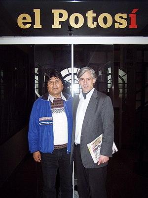 Evo Morales y Garcia Linera en El Potosi