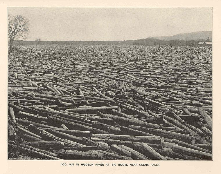 File fmib 43078 log jam in hudson river at big boom near for Hudson log