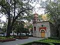 Fachada de la Capilla de San Lorenzo Mártir viista desde la plaza, la Ciudad de México.JPG