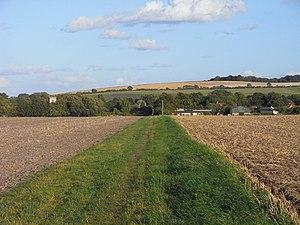 Farmland, Blewbury The footpath crossing flat ...