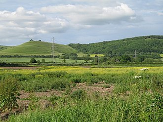 Devizes White Horse - Roundway Hill, the west side of which (pictured) was the location to the original Devizes White Horse