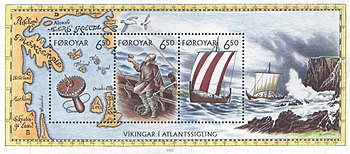 The Viking Age on a Faroe Islands stamp pad 2002