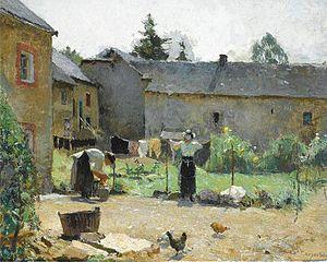 Évariste Carpentier - Femmes séchant le linge