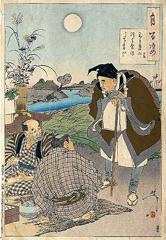 "Matsuo Bashō - Bashō meets two farmers celebrating the mid-autumn moon festival in a print from Yoshitoshi's Hundred Aspects of the Moon. The haiku reads: ""Since the crescent moon, I have been waiting for tonight."""