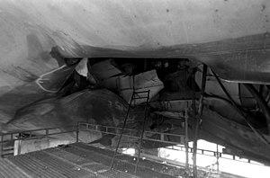 Closeup of the Roberts' damaged hull.