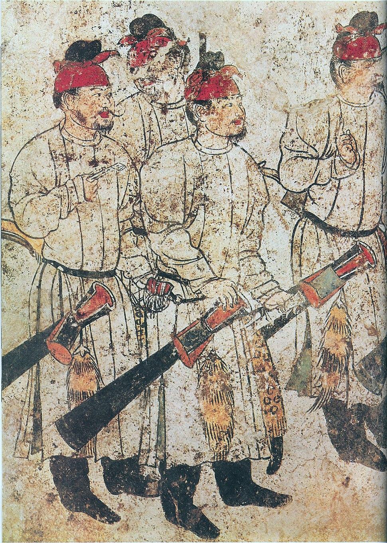 Figures in a cortege, tomb of Li Xian, Tang Dynasty.jpg