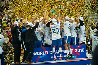 Floorball - Finland celebrating after the gold in 2018 championship