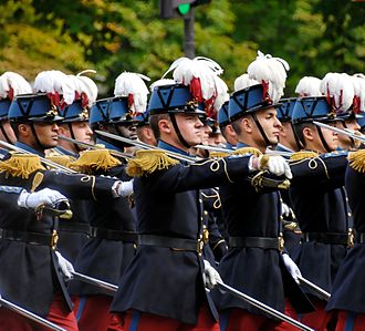Military academy - Saint-Cyr cadets at the Bastille Day military parade