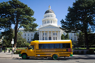 Battery electric vehicle - The first all-electric school bus in the state of California pausing outside the California capitol building in Sacramento.