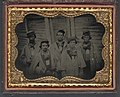 Five unidentified prisoners of war in Confederate uniforms in front of their barracks at Camp Douglas Prison, Chicago, Illinois LCCN2012646159.jpg