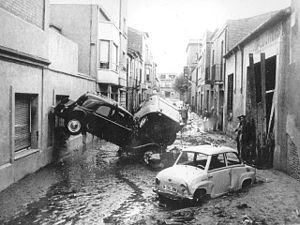 Terrassa - Results of the 1962 flood in Terrassa the day after. Picture obtained in the Tobella's archive.