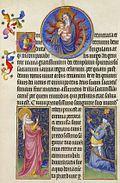 La Virgen y el Niño del recuadro de arriba, profetisa en la parte inferior izquierda y el Emperador Augusto en la parte inferior derecha