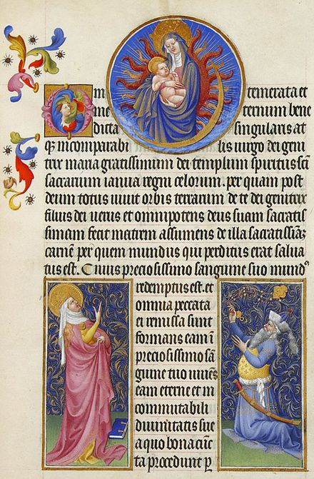 The Virgin Mary and Child, the prophetess Sibyl Tivoli bottom left and the Emperor Augustus in the bottom right, from the Tres Riches Heures du duc de Berry. The likeness of Augustus is that of the Byzantine emperor Manuel II Palaiologos Folio 22r - The Virgin, the Sibyl and the Emperor Augustus.jpg