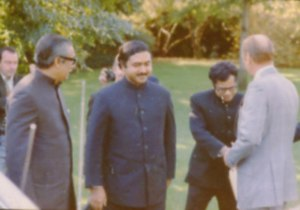 Kamal Hossain - Hossain (middle) with Sheikh Mujibur Rahman and Gerald Ford at the White House lawn in 1974