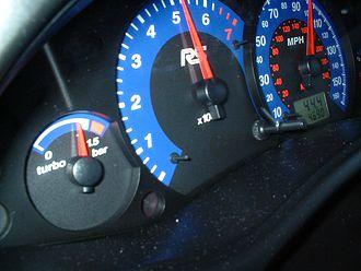 Boost gauge - Boost gauge on a Ford Focus RS (left)