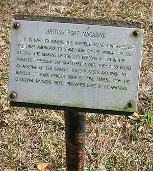 Battle of Negro Fort - A plaque at the site of Negro Fort marking the location of the powder magazine