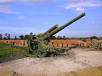 39th Anti-Aircraft Brigade (United Kingdom) - Static 3.7-inch HAA gun preserved at Fort Paull in the Hull GDA (Photo: Andy Beecroft).
