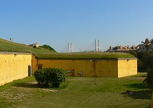 Caponier - A caponier covered with a layer of earth, Sacavém Fort, Portugal.