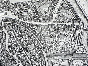Frankfurter Judengasse - Frankfurt city map 1628, showing the curved Judengasse.